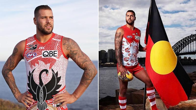 Pictured here, Swans star Buddy Franklin wears an Indigenous guernsey and poses with the Aboriginal flag.