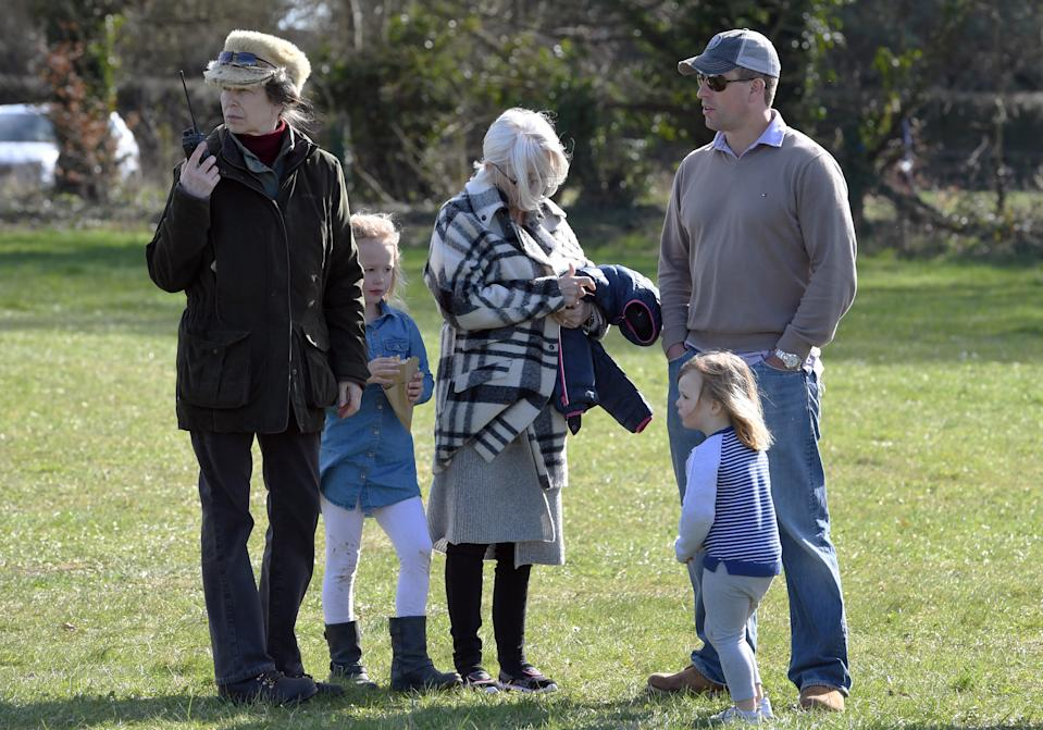 STROUD, ENGLAND - MARCH 25:  Princess Anne, Princess Royal  with her son Peter Phillips and granddaughters Savannah Phillips and Mia Tindall during the Gatcombe Horse Trials at Gatcombe Park on March 25, 2017 in Stroud, England.  (Photo by Anwar Hussein/WireImage)