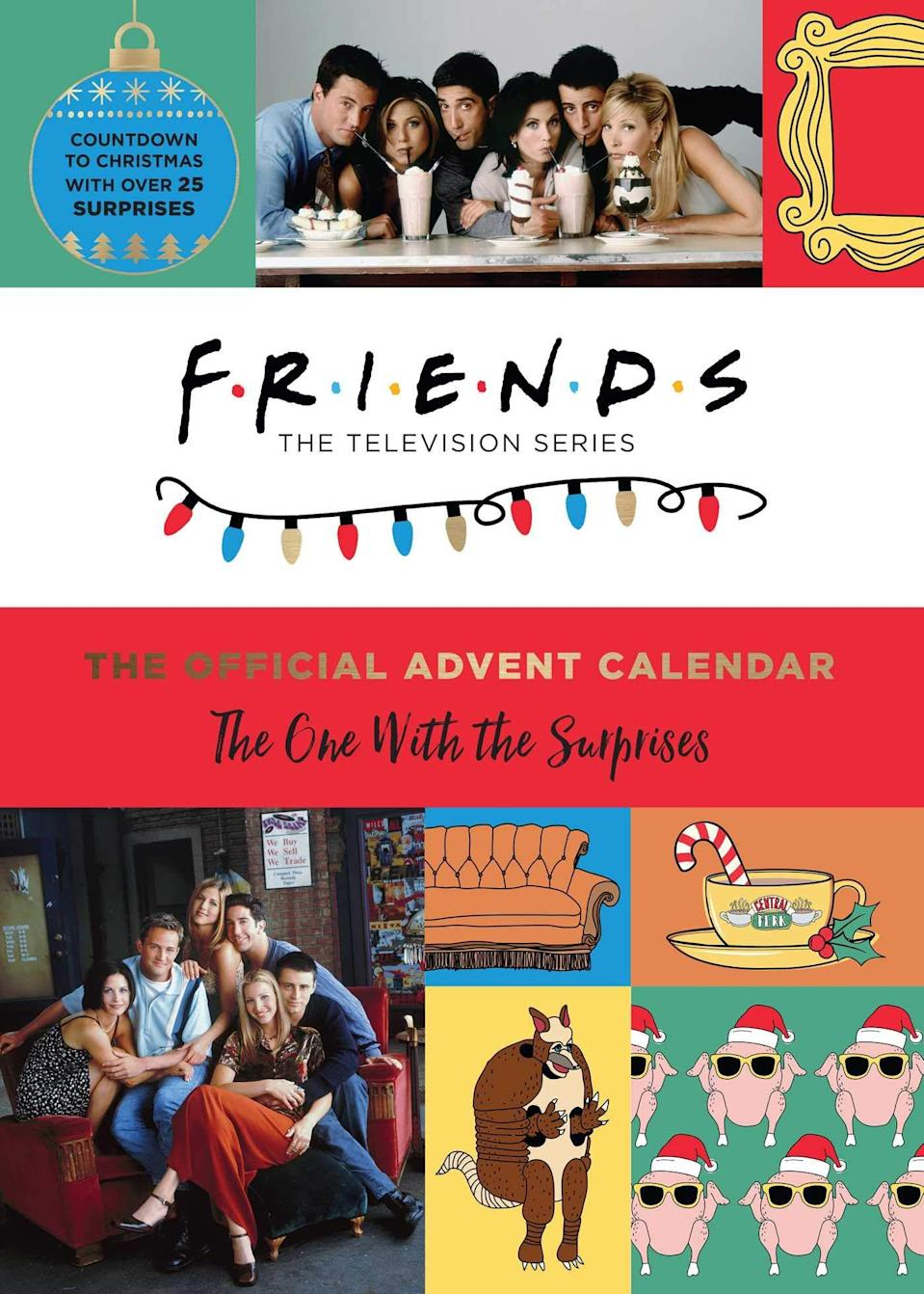 """<h2>Friends: The Official Advent Calendar<br></h2><br>The sure-to-be-runaway success of this gift needs no introductions — and, as an advent calendar, it's one that will keep on giving for all season long.<br><br><strong>Insight Editions</strong> Friends: The Official Advent Calendar, $, available at <a href=""""https://www.amazon.com/Friends-Official-Advent-Calendar-Surprises/dp/1647222613"""" rel=""""nofollow noopener"""" target=""""_blank"""" data-ylk=""""slk:Amazon"""" class=""""link rapid-noclick-resp"""">Amazon</a>"""