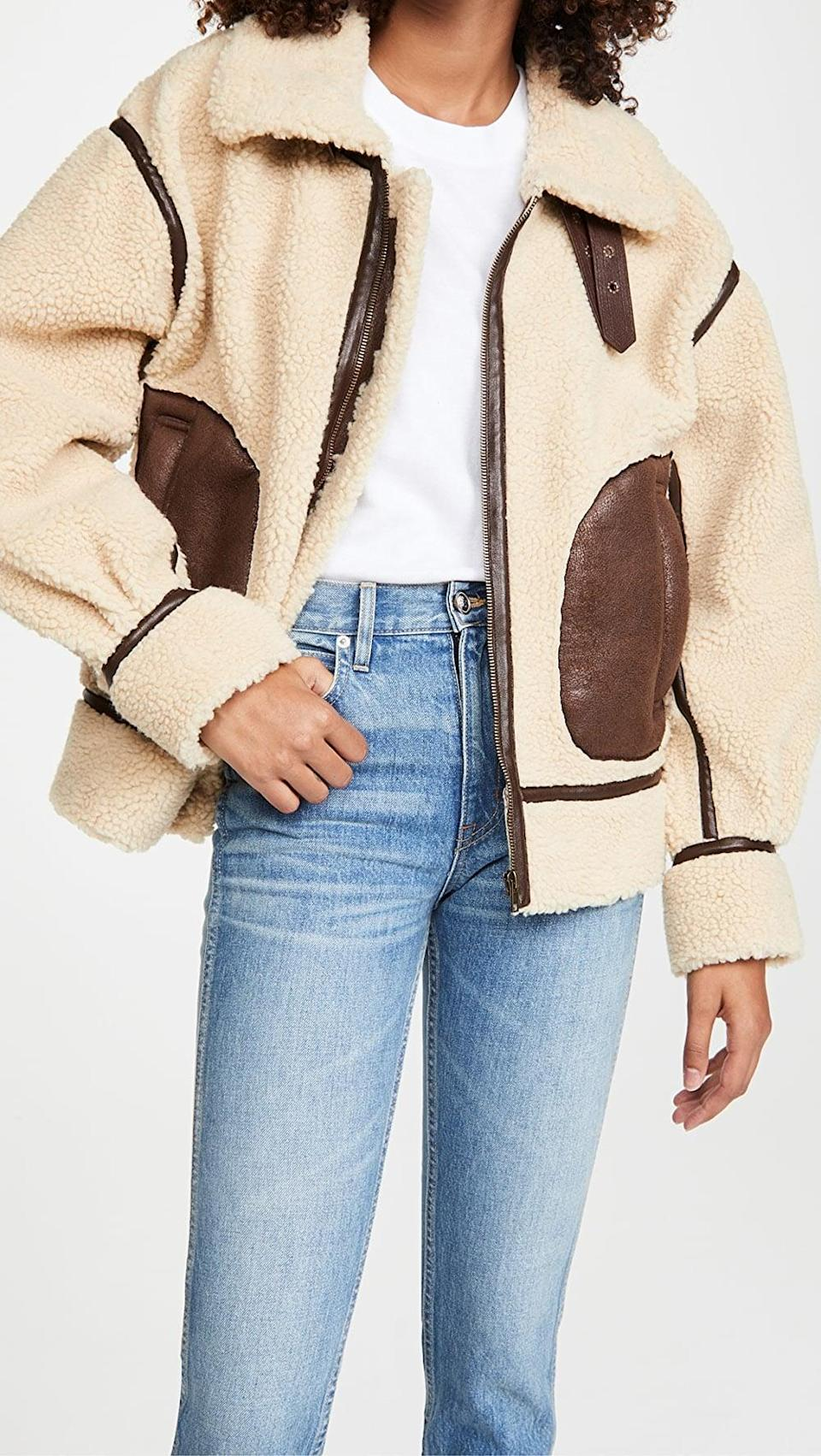 <p>This <span>Moon River Tan Moto Bomber Jacket</span> ($176) is cozy and stylish.</p>