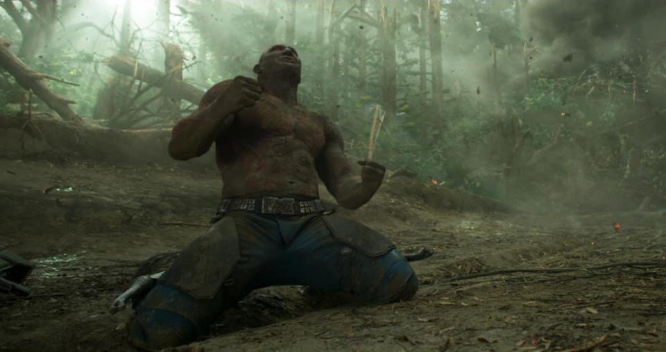 <p>Another image from the planet's surface shows Drax having an emotional reaction to <i>something</i>. (Photo: Marvel) </p>