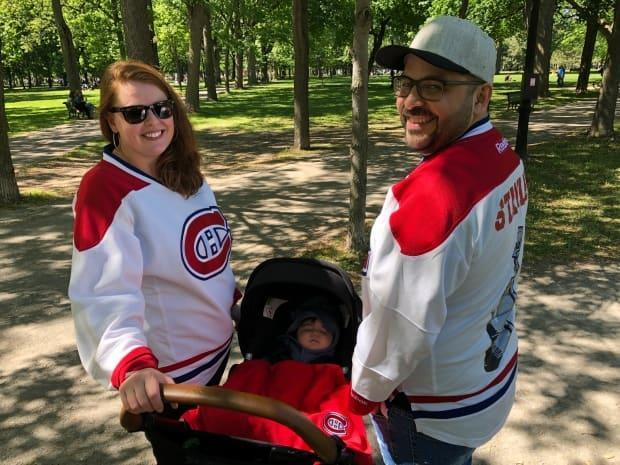 Maya Soren and Pakesso Mukash are two of the lucky 2,500 Habs fans going to watch the game at the Bell Centre tonight, paying in the thousands for the tickets. Baby Naahiyu is staying home.