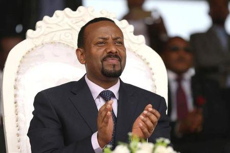 FILE PHOTO: Ethiopia's newly elected prime minister Abiy Ahmed attends a rally during his visit to Ambo in the Oromiya region