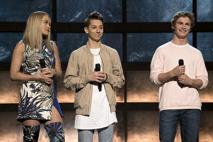 Rita Ora, Gianni Cardinale and Brady Tutton on ABC's Boy Band. (Photo Credit: Eric McCandless/ABC)