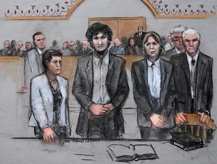 File image: In this 15 May, 2015 file courtroom sketch by Jane Flavell Collins, Boston Marathon bomber Dzhokhar Tsarnaev, centre, stands with his defence attorneys as a death by lethal injection sentence is read at the Moakley Federal court house in the penalty phase of his trial in Boston (AP)