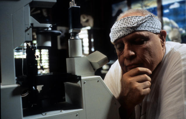 Marlon Brando contemplates in a scene from the film 'The Island Of Dr. Moreau', 1996. (Photo by New Line/Getty Images)