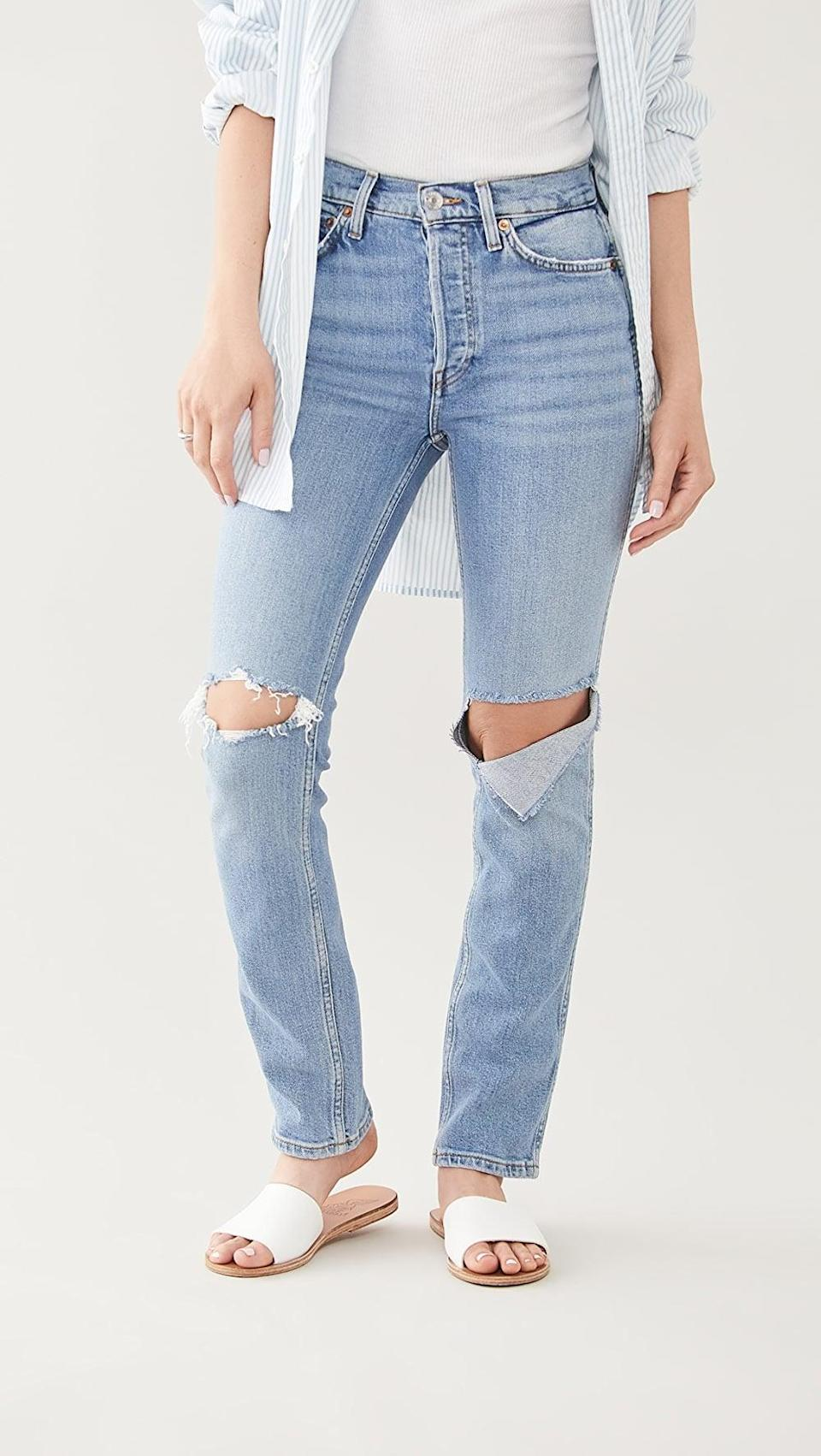 <p>These flattering <span>RE/DONE 80s Slim Straight Jeans</span> ($193, originally $275) are going to be your new go-to.</p>
