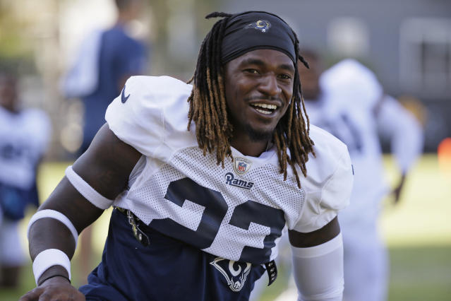 FILE - In this Aug. 8, 2019, file photo, Los Angeles Rams defensive back Nickell Robey-Coleman smiles during a NFL football practice session held by the Rams and the Oakland Raiders in Napa, Calif. Robey-Coleman readily admits he should have been called for pass interference against New Orleans receiver Tommylee Lewis late in the NFC championship game last January, but the officials didn't throw a flag and the Rams went on to win. Robey-Coleman is eager to make new memories against the Saints when they visit the Coliseum for a rematch on Sunday. (AP Photo/Eric Risberg)