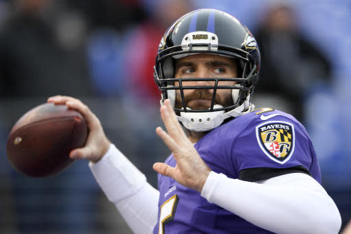 FILE - In this Dec 31, 2017, file photo, Baltimore Ravens quarterback Joe Flacco (5) warms up before an NFL football game against the Cincinnati Bengals in Baltimore. This is setting up to be an important season for Flacco, who has been assured that he will remain the starter in 2018 but also must consider how his future will be influenced by the presence of first-round draft pick Lamar Jackson. (AP Photo/Nick Wass, File)