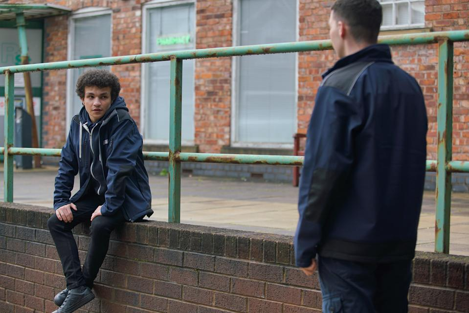 FROM ITV  STRICT EMBARGO -  No Use Before Tuesday 26th January 2021  Coronation Street - Ep 1024142  Friday 5th February 2021  As Simon Barlow [ALEX BAIN] readies to leave with a chip shop delivery, Jacob Ray [JACK JAMES RYAN] takes the bag off him and tells him he's got a delivery for him to make of a different kind. Simon's heart sinks.   Picture contact David.crook@itv.com  Photographer - Danielle Baguley  This photograph is (C) ITV Plc and can only be reproduced for editorial purposes directly in connection with the programme or event mentioned above, or ITV plc. Once made available by ITV plc Picture Desk, this photograph can be reproduced once only up until the transmission [TX] date and no reproduction fee will be charged. Any subsequent usage may incur a fee. This photograph must not be manipulated [excluding basic cropping] in a manner which alters the visual appearance of the person photographed deemed detrimental or inappropriate by ITV plc Picture Desk. This photograph must not be syndicated to any other company, publication or website, or permanently archived, without the express written permission of ITV Picture Desk. Full Terms and conditions are available on  www.itv.com/presscentre/itvpictures/terms