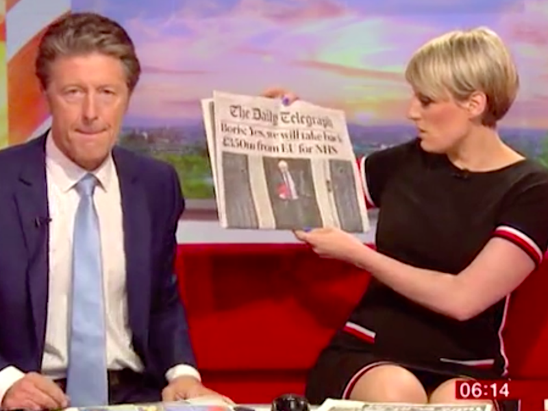 Charlie Stayt looked awkward. Source: BBC Breakfast