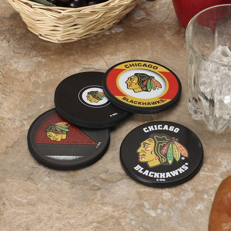 Blackhawks Puck Coaster Set