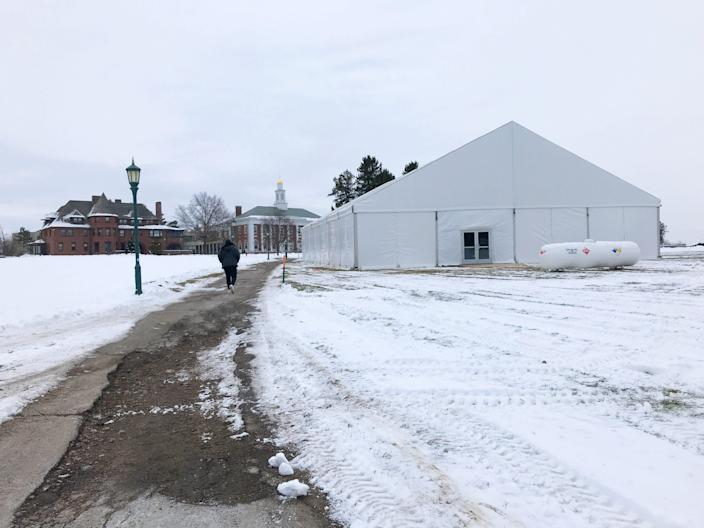 A tent erected this semester dominates the University of Vermont's Redstone Campus quad Jan. 11. The structure covers approximately 3,750 feet to provide an auxiliary space for socially distanced activities.