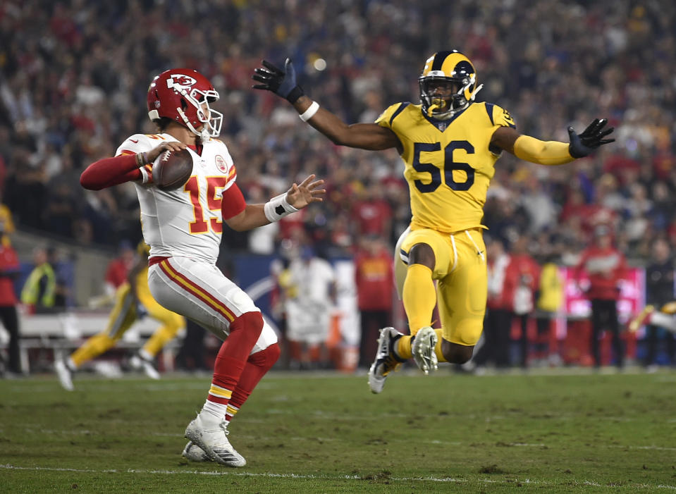 Patrick Mahomes turned the ball over five times … yet the Chiefs lit up the Rams for 51 points in a loss. (AP)