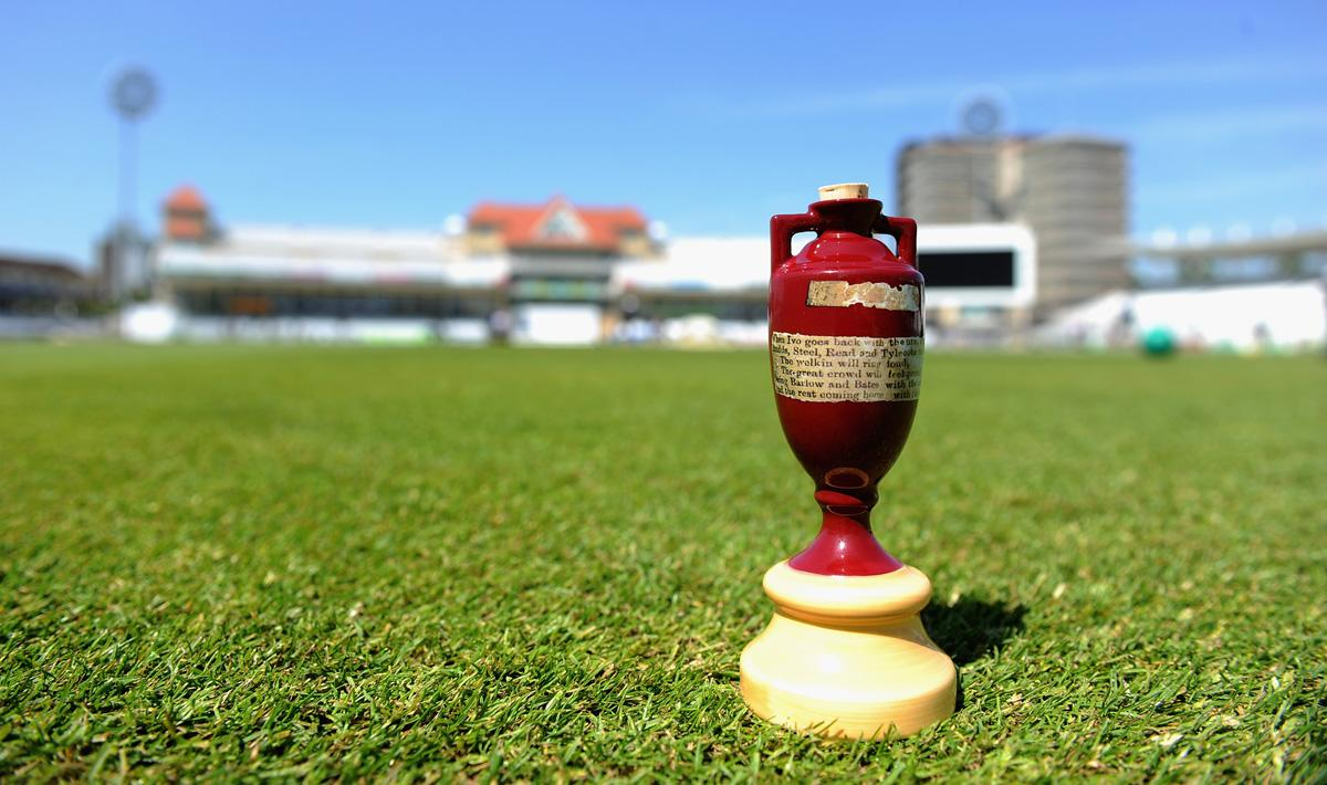 NOTTINGHAM, ENGLAND - JULY 09:  A replica ashes urn on the outfield at Trent Bridge on July 9, 2013 in Nottingham, England.  (Photo by Gareth Copley/Getty Images)