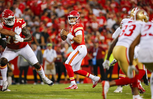 """<a class=""""link rapid-noclick-resp"""" href=""""/nfl/players/30123/"""" data-ylk=""""slk:Patrick Mahomes"""">Patrick Mahomes</a> and the Chiefs make for a fine matchup vs. San Francisco. (Photo by David Eulitt/Getty Images)"""