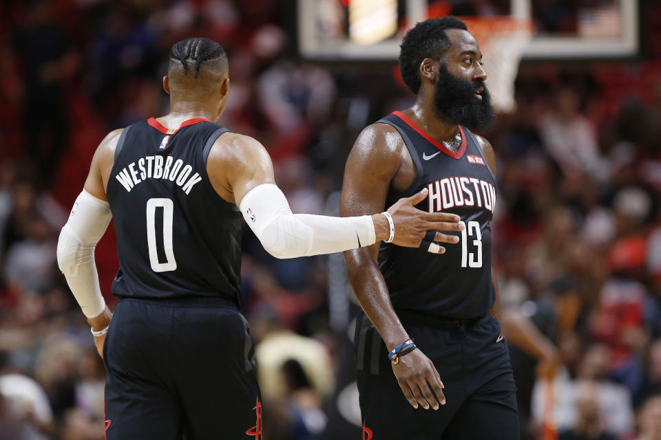 Can Russell Westbrook and James Harden coexist again in the same backcourt? (Getty Images)