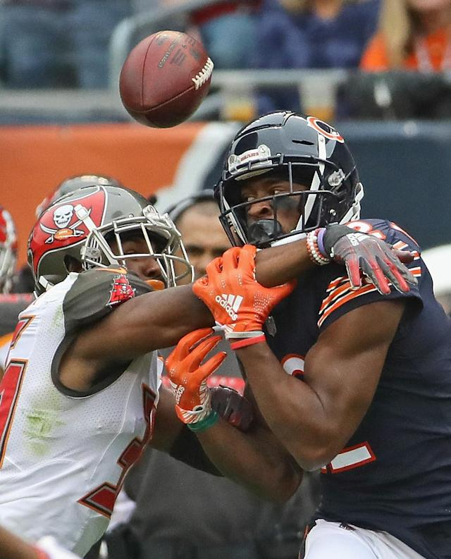 <p>Isaiah Johnson #39 of the Tampa Bay Buccaneers breaks up a apass intended for Allen Robinson #12 of the Chicago Bears at Soldier Field on September 30, 2018 in Chicago, Illinois. The Bears defeated the Buccaneers 48-10. (Photo by Jonathan Daniel/Getty Images) </p>