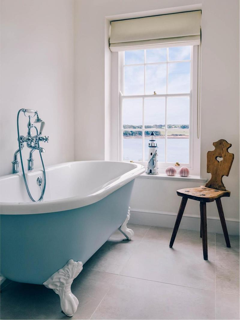The house has two free-standing baths, both overlooking the bay (St Mawes Retreats)