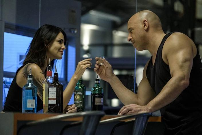 KT (Eiza Gonzalez) and Ray Garrison (Vin Diesel) in the RST Lab in Columbia Pictures' BLOODSHOT. Credit: Graham Bartholomew/ Columbia Pictures