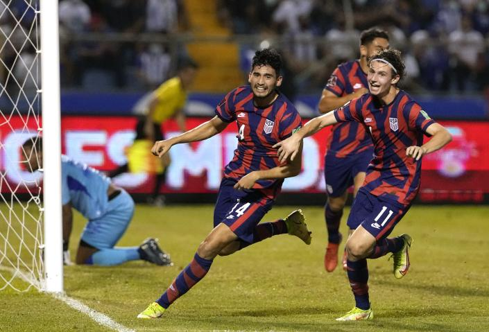 United States' Ricardo Pepi, (14) celebrates scoring his side's second goal against Honduras during a qualifying soccer match for the FIFA World Cup Qatar 2022, in San Pedro Sula, Honduras, Wednesday, Sept. 8, 2021. (AP Photo/Moises Castillo)