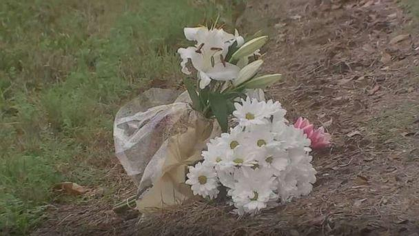 PHOTO: Flowers are placed where a 20-year-old man who survived a crash into a utility pole died after he was electrocuted when stepping out of his vehicle and onto the downed power line in Texas City, Texas, on Feb. 8, 2020. (ABC News/KTRK)