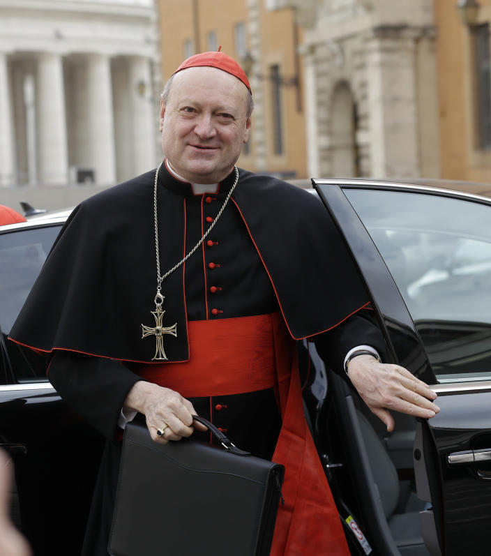 Cardinal Gianfranco Ravasi arrives for a meeting at the Vatican, Friday, March 8, 2013. The last cardinal who will participate in the conclave to elect the next pope arrived in Rome on Thursday, meaning a date can now be set for the election. One U.S. cardinal said a decision on the start date is expected soon. (AP Photo/Alessandra Tarantino)