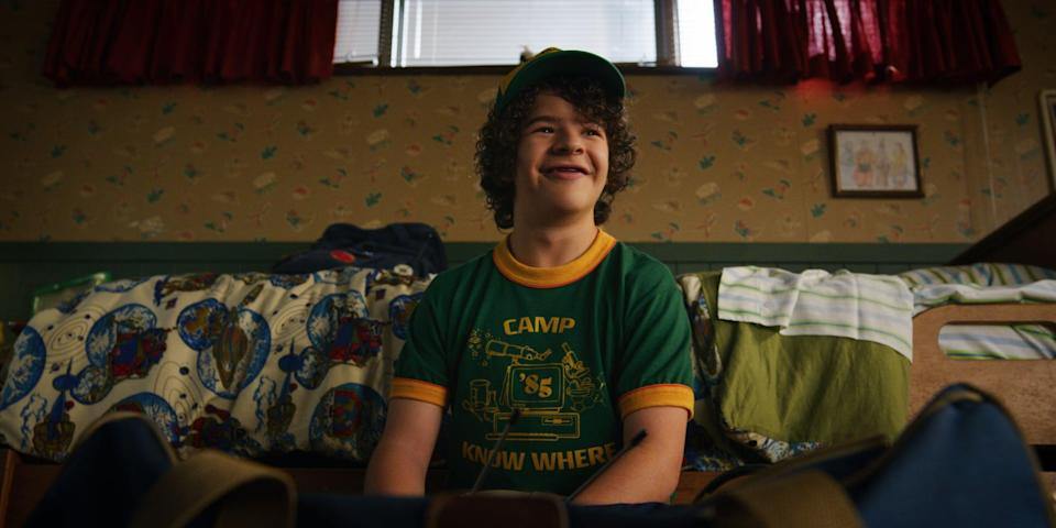 <ul> <li><strong>What to wear:</strong> Dustin's yellow and green baseball hat is a pretty iconic staple, so make sure to find one that replicates it to the best of your ability. Once that's done, pick up a curly brown wig, an old-school camp t-shirt or graphic tee, and jeans. Also consider getting something to make it look like you're missing your front teeth.</li> </ul>
