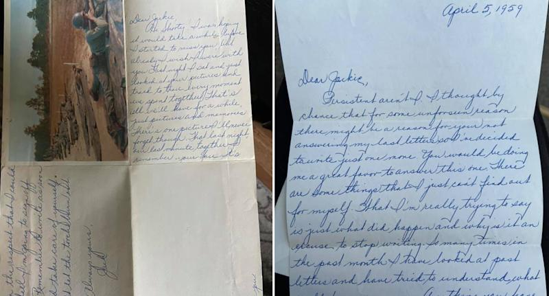 Pictured are letters which appear to be from November 1958 and April 1959.