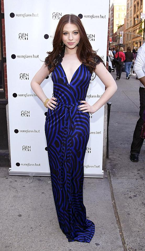 "Careful! You may become hypnotized by the pattern on Michelle Trachtenberg's midnight blue dress. Brian Ach/<a href=""http://www.wireimage.com"" target=""new"">WireImage.com</a> - May 13, 2008"