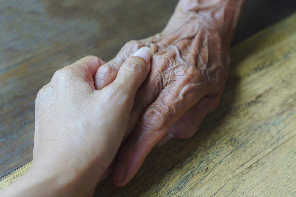 Holding Hands, Human Hand, Holding, Medical Exam, Touching, Elderly, Old, Nursing home, Senior Adult