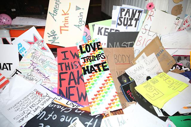 <p>Discarded signs from Women's March in New York City on Jan. 21, 2017. (Photo: Gordon Donovan/Yahoo News) </p>