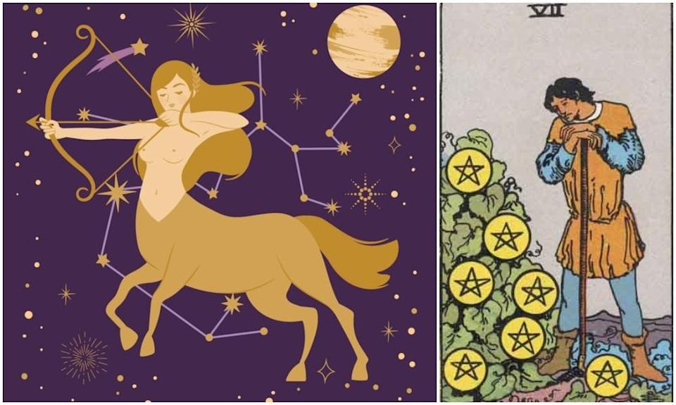 Sagittarius star sign, at left and Seven of Pentacles card, at right. Photos: Mixkit, Wikimedia Commons