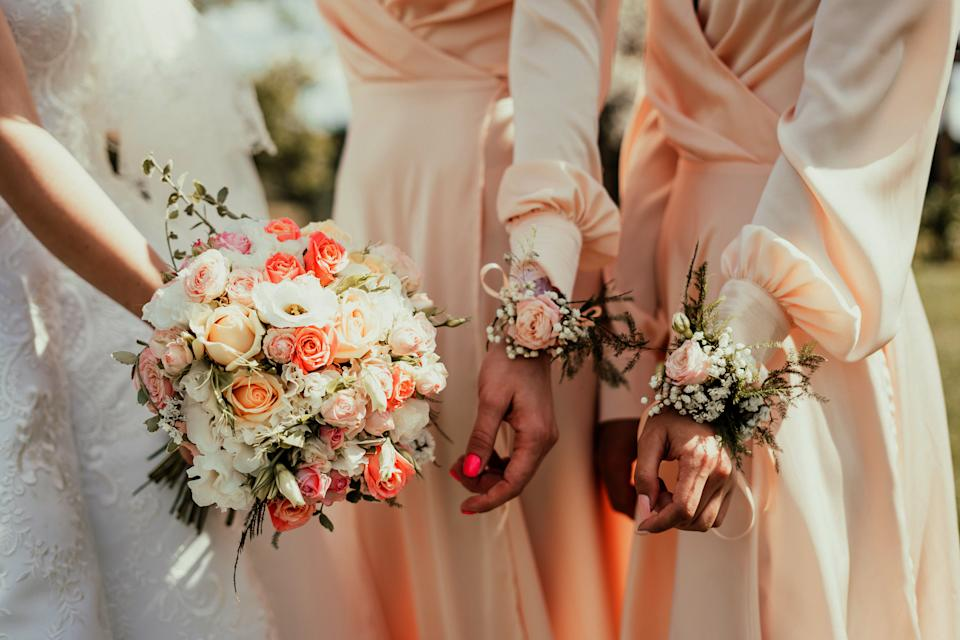 bridal bouquet and bridesmaids