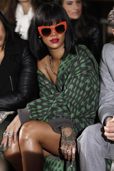 Singer Rihanna attends Stella McCartney's ready-to-wear fall/winter 2014-2015 fashion collection presented in Paris, Monday, March 3, 2014. (AP Photo/Thibault Camus)