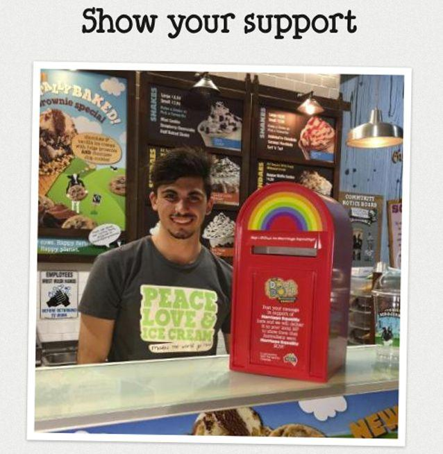 Ben & Jerry's rolls out a protest in support of marriage equality in its Australian stores. Source: Supplied