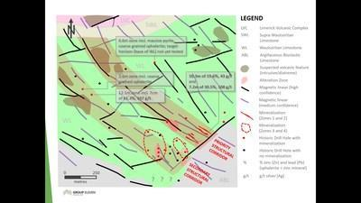Exhibit 2. 'After' Geological Map (with Ground Magnetic Data) of Carrickittle Zinc Prospect, PG West (CNW Group/Group Eleven Resources Corp.)