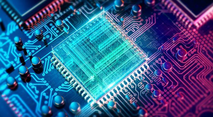 A digital rendering of a circuit board and digital chip in neon colors.
