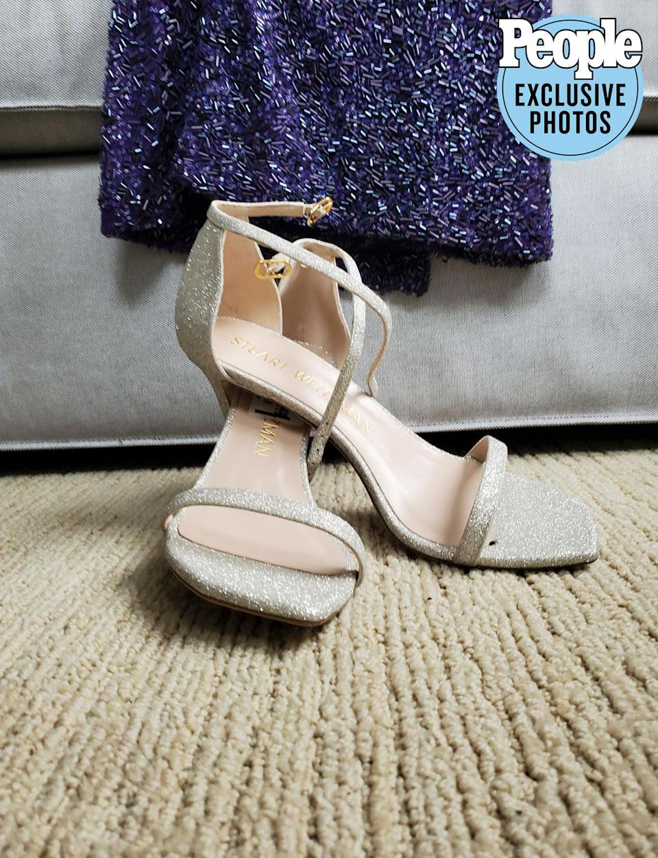 <p>I will be standing for a while so I need some comfy shoes. (These are from Stuart Weitzman.) Also, what color would you call my dress? Or am I even wearing a dress?</p>