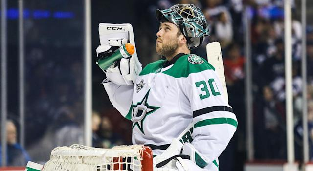 "<a class=""link rapid-noclick-resp"" href=""/nhl/teams/dal"" data-ylk=""slk:Dallas Stars"">Dallas Stars</a> goalie <a class=""link rapid-noclick-resp"" href=""/nhl/players/4365/"" data-ylk=""slk:Ben Bishop"">Ben Bishop</a> (30) takes a water break during the NHL game between the <a class=""link rapid-noclick-resp"" href=""/nhl/teams/wpg"" data-ylk=""slk:Winnipeg Jets"">Winnipeg Jets</a> and the Dallas Stars. (Photo by Terrence Lee/Icon Sportswire via Getty Images)"