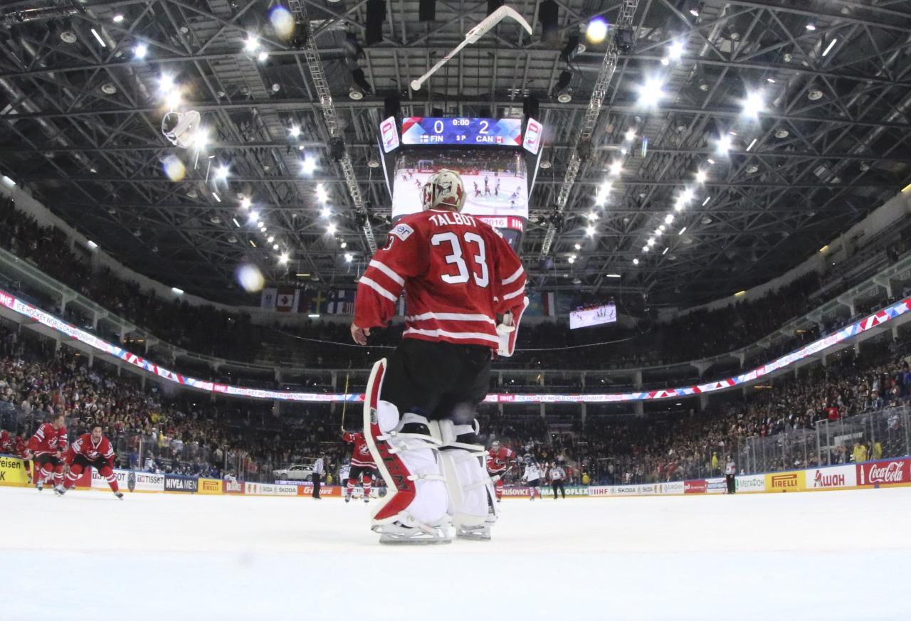 Ice Hockey - 2016 IIHF World Championship - Gold medal match - Finland v Canada - Moscow, Russia - 22/5/16 - Goalkeeper Cam Talbot of Canada celebrates the victory over Finland.    REUTERS/Andre Ringuette/HHOF-IIHF Images/Pool  TPX IMAGES OF THE DAY