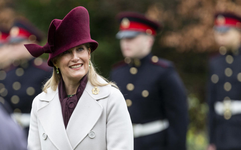 TWICKENHAM, ENGLAND - DECEMBER 10: Sophie, Countess of Wessex visits the Corps of Army Music for a renaming ceremony and short parade at Kneller Hall on December 10, 2020 in Twickenham, England. The Countess of Wessex is Colonel in Chief of the regiment. (Photo by UK Press Pool/UK Press via Getty Images)