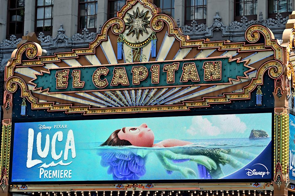 LOS ANGELES, CALIFORNIA - JUNE 17: A view of the marquee at the world premiere for LUCA, held at the El Capitan Theatre in Hollywood, California on June 17, 2021. (Photo by Alberto E. Rodriguez/Getty Images for Disney)