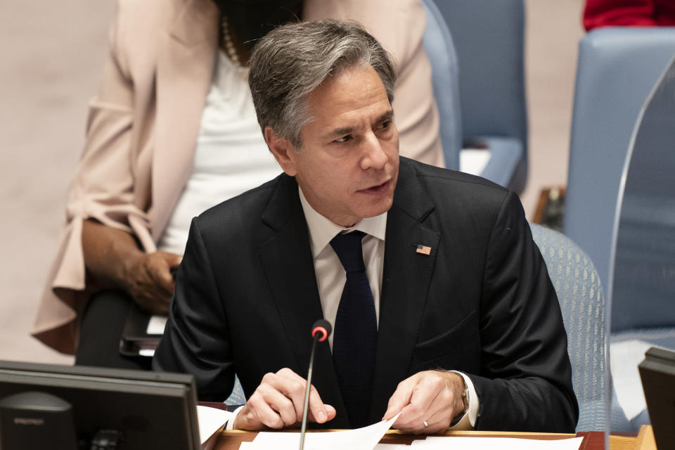 Antony Blinken, United States Secretary of State, speaks during a meeting of the United Nations Security Council, Thursday, Sept. 23, 2021, during the 76th Session of the U.N. General Assembly in New York. (AP Photo/John Minchillo, Pool)