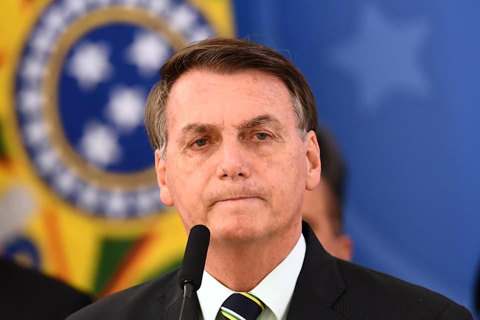 Brazil's President Jair Bolsonaro delivers a press conference in Brasilia, Brazil, on April 24, 2020. - Brazilian Minister of Justice and Public Security, Sergio Moro, announce his resignation on Friday after Brazilian President Jair Bolsonaro dismissed the head of the Brazilian Federal Police, according to sources close to the popular former anti-corruption judge. (Photo by EVARISTO SA / AFP) (Photo by EVARISTO SA/AFP via Getty Images)