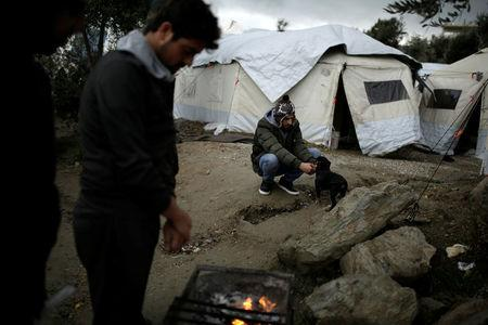 A refugee plays with a dog as others warm themselves around a fire, at a makeshift camp for refugees and migrants next to the Moria camp on the island of Lesbos, Greece, November 30, 2017. REUTERS/Alkis Konstantinidis