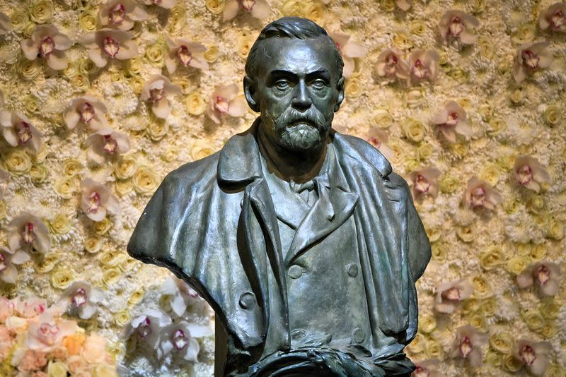 FILE PHOTO: FILE PHOTO: A bronze bust of Alfred Nobel is pictured before the Nobel Prize ceremony at Stockholm Concert Hall, in Stockholm