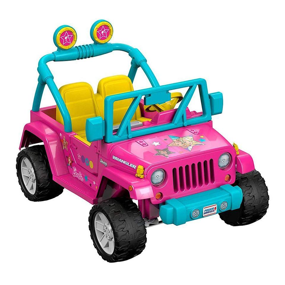 """<p><strong>Fisher-Price</strong></p><p>amazon.com</p><p><strong>$324.99</strong></p><p><a href=""""https://www.amazon.com/dp/B01MS6A8FN?tag=syn-yahoo-20&ascsubtag=%5Bartid%7C2089.g.37132744%5Bsrc%7Cyahoo-us"""" rel=""""nofollow noopener"""" target=""""_blank"""" data-ylk=""""slk:Shop Now"""" class=""""link rapid-noclick-resp"""">Shop Now</a></p><p>While this Jeep is similar in specs to the barbecue-themed Wrangler we included earlier, we'd be remiss if we didn't include the classic Barbie Jeep in this list.</p><p>It features fun Barbie graphics and a pretend radio with six pre-loaded tunes. Your kids will have a blast showing off their new toy to the whole neighborhood. </p>"""