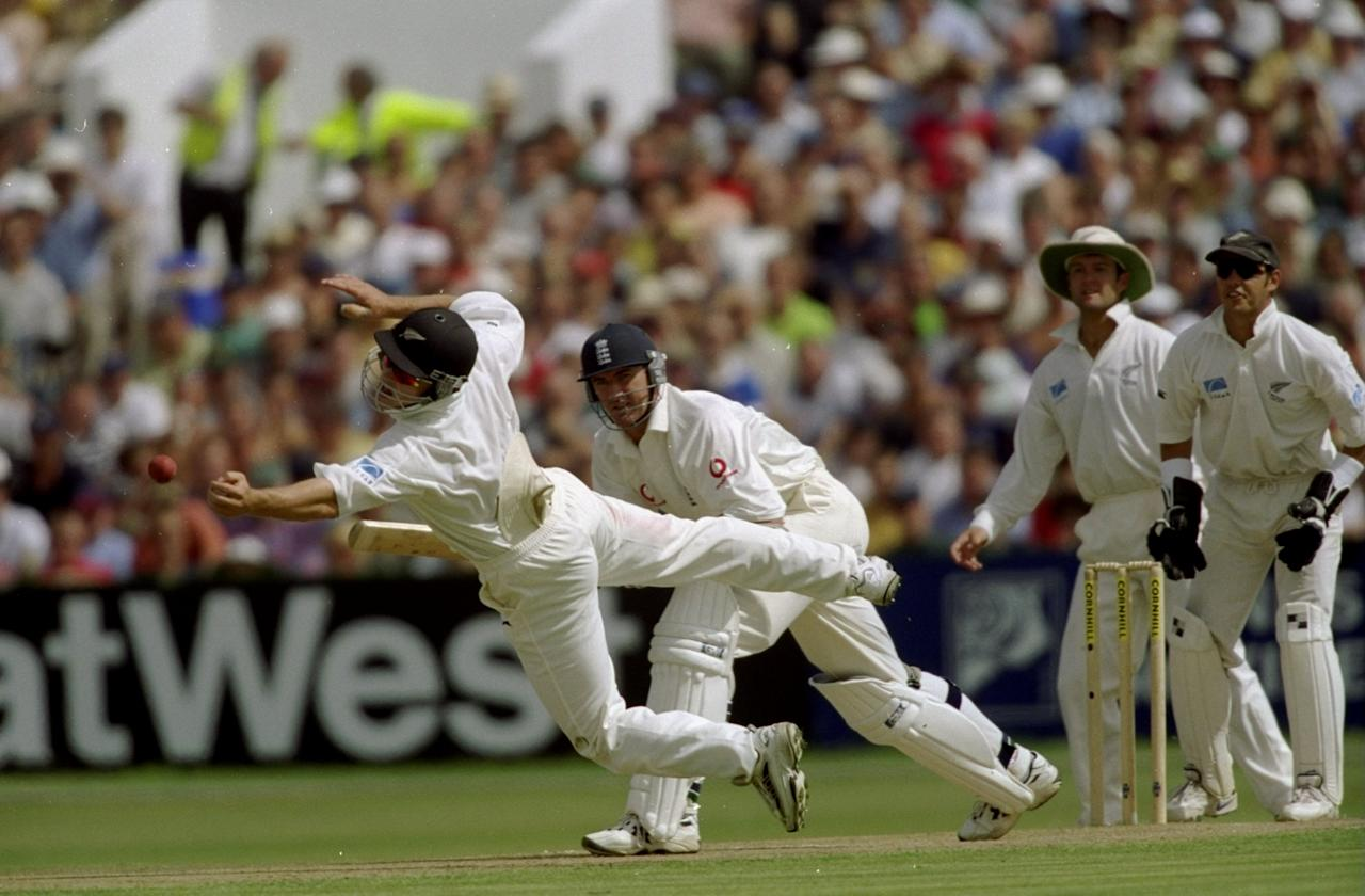6 Aug  1999: New Zealand's Matthew Bell fielding from Andy Caddick during the third Test match between England and New Zealand played at the Old Trafford cricket ground in Manchester, England. The match was drawn and the series remained level at 1-1. \ Mandatory Credit: Adrian Murrell /Allsport