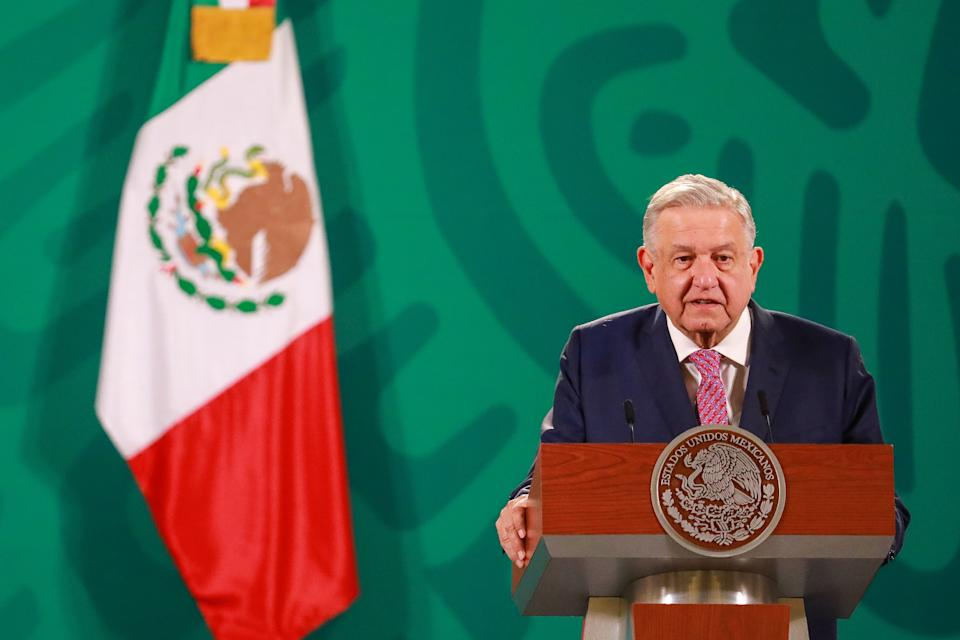 MEXICO CITY, MEXICO - FEBRUARY 08: Andres Manuel López Obrador, President of Mexico, speaks during a morning briefing at National Palace on February 08, 2021 in Mexico City, Mexico. (Photo by Manuel Velasquez/Getty Images)